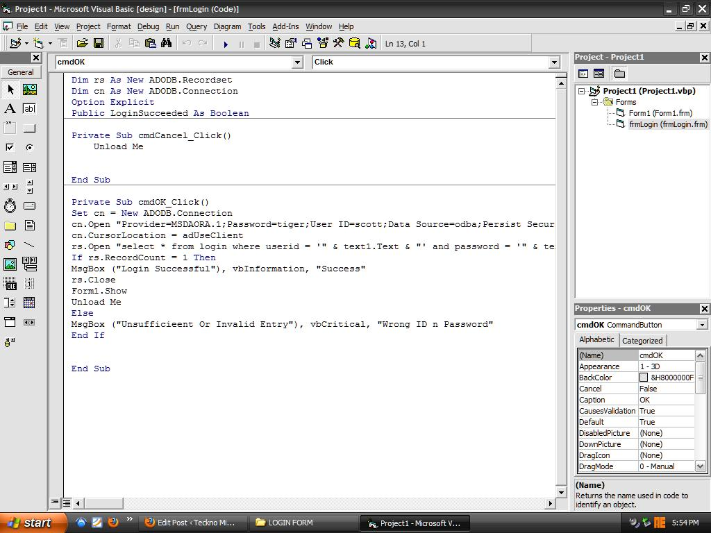 Login Form in Visual basic with oracle Database   TECH HOOD